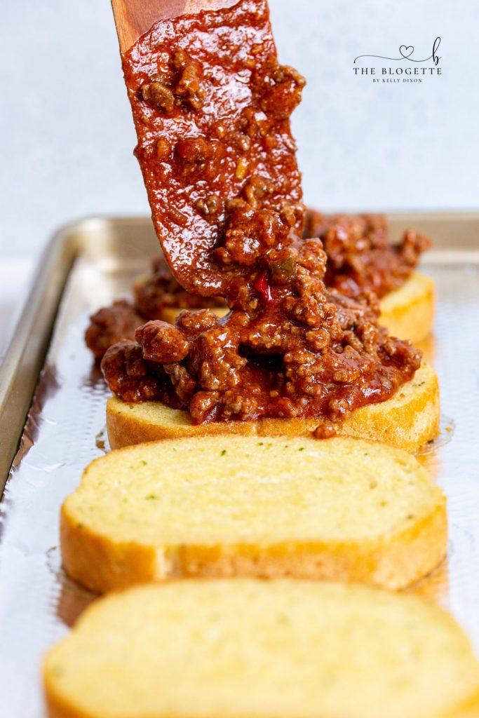 Sloppy Joe meat on garlic bread