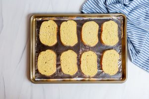 Texas toast before baking on foil
