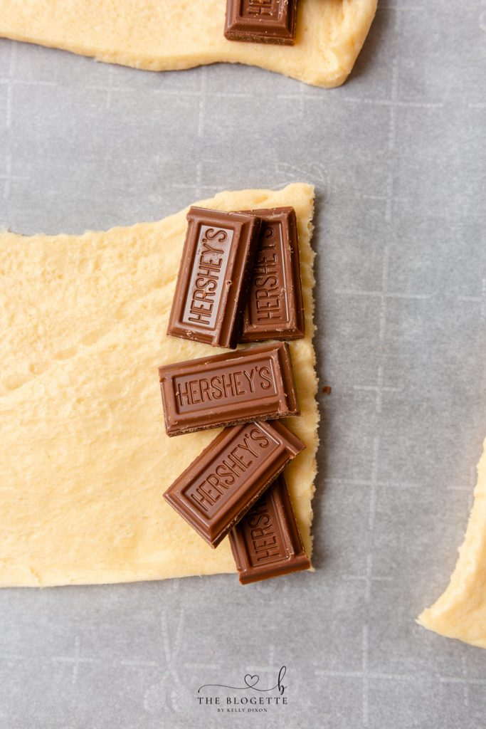 Chocolate inside crescent rolls